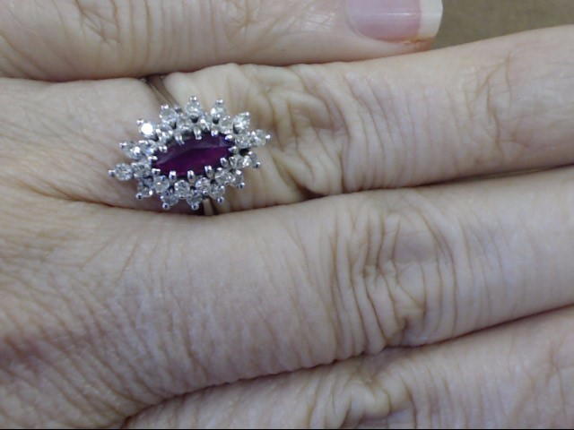 VINTAGE MARQUISE RUBY DIAMOND CLUSTER RING SOLID 14K WHITE GOLD SZ 8