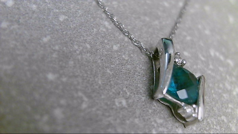 """18"""" Synthetic Emerald Stone Necklace 10K White Gold 1.1g"""