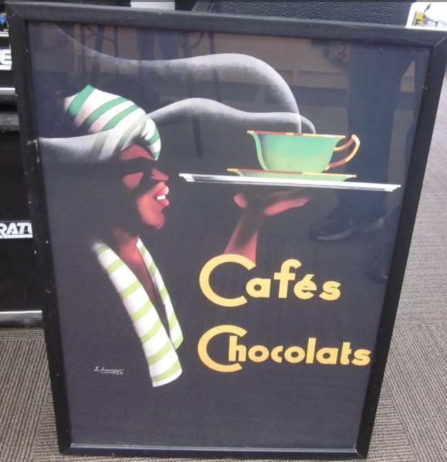CAFE CHOCOLATS ART DECO FRENCH VINTAGE ADVERTISING