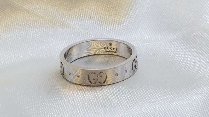 Gucci Icon Ring 18K White Gold 3.6g Size:5.3