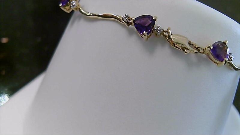 "6.75"" Amethyst & Diamond 10K Yellow Gold Bracelet 11 Diamonds CTTW"