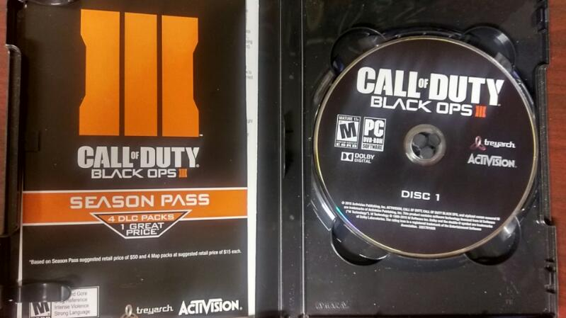 ACTIVISION CALL OF DUTY BLACK OPS III PC-2015 WITH NUK3TOWN BONUS MAP