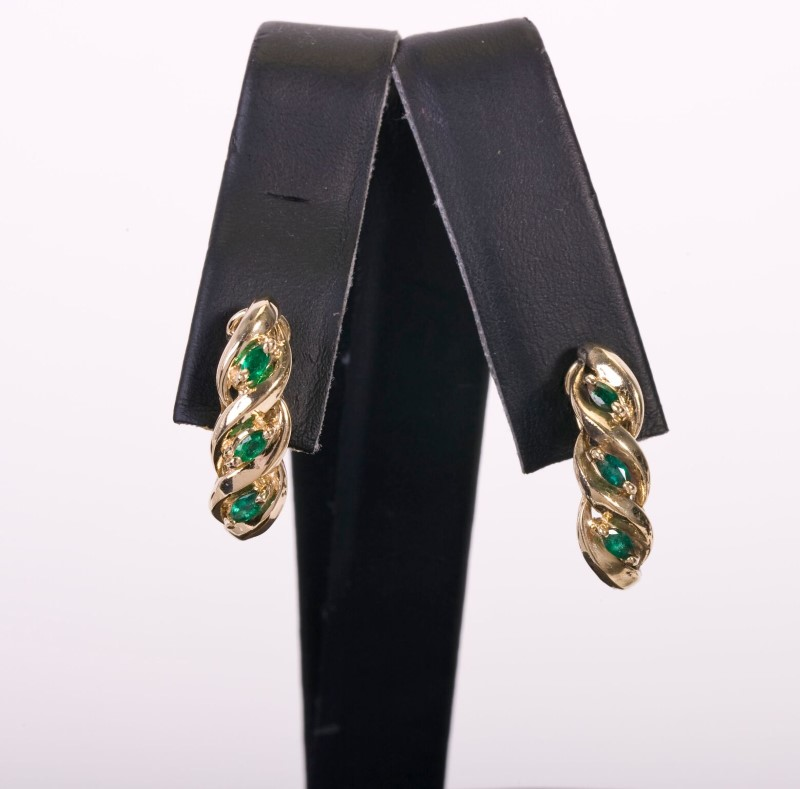 Lady's Emerald  Earrings 14KYG  5.1g