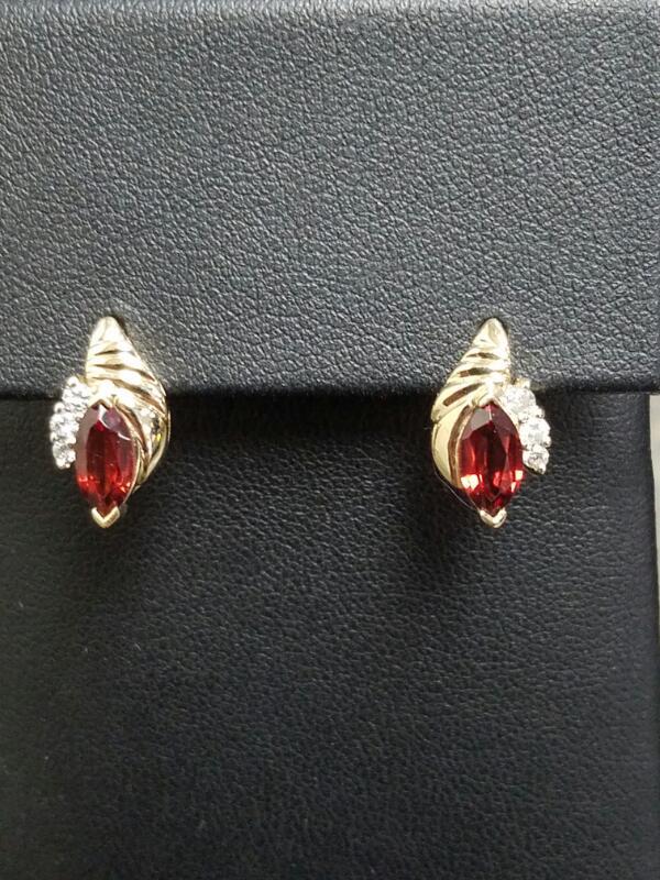 Almandite Garnet Gold-Diamond & Stone Earrings 6 Diamonds .12 Carat T.W.