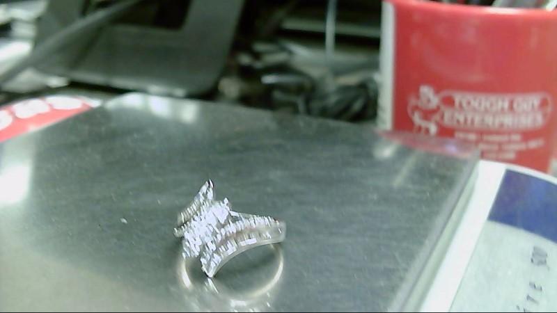 Lady's Diamond Fashion Ring 57 Diamonds .89 Carat T.W. 10K White Gold 3.4g