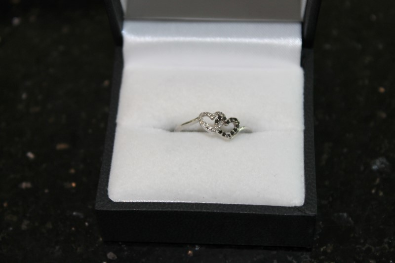 Black and White Double Heart Diamond 10K White Gold Ring