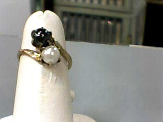 Pearl Lady's Stone Ring 10K Yellow Gold 1.5dwt Size:5.3