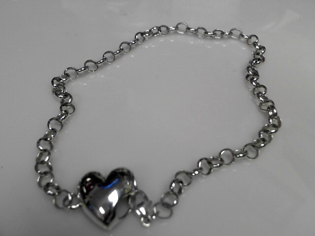 """10"""" Sterling Silver Bracelet 925 Silver 13.79g with Heart"""