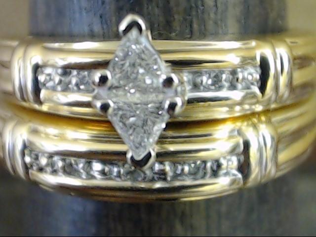 ESTATE NATURAL DIAMOND WEDDING SET RING BAND SOLID 10K GOLD SIZE 7