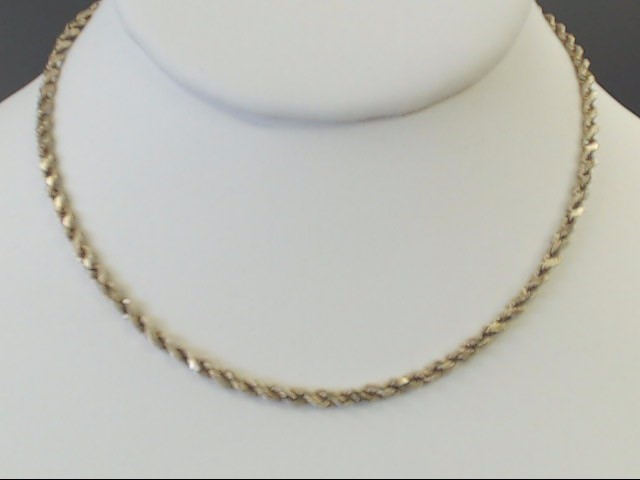 "VINTAGE CLASSIC ROPE NECKLACE CHAIN SOLID REAL 14K GOLD 18"" 5.7g"