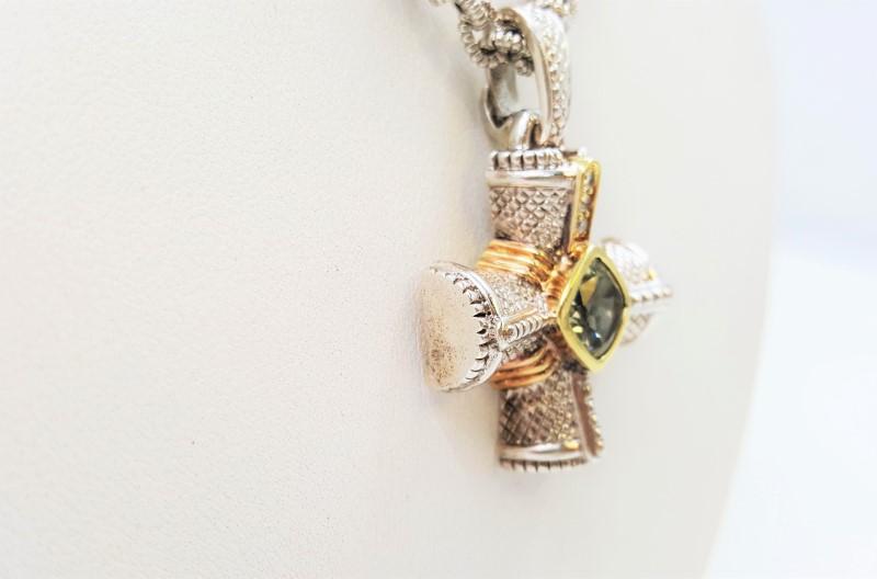 "Judith Ripka Silver/18K Cross Diamonds & Green Amethyst 18"" Necklace"
