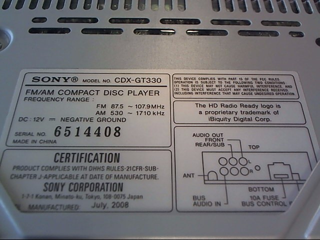 SONY Car Audio CDX-GT330