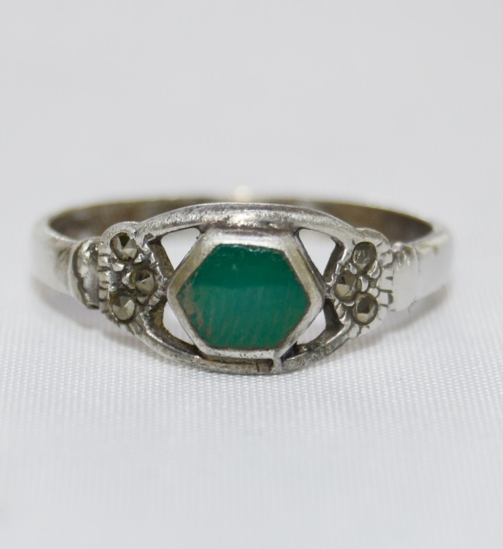 Sterling Silver Hexagonal Green Turquoise & Marcasite Openwork Ring Band size 7