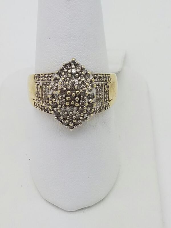 L'S 10KT Gent's Diamond Cluster Ring CHIPS 100 Diamonds 1.00 Carat T.W.