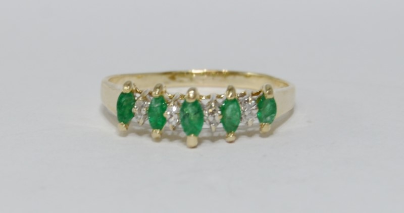 14K Yellow Gold Cathedral Marquise Emerald & Diamond Row Stacker Ring Band