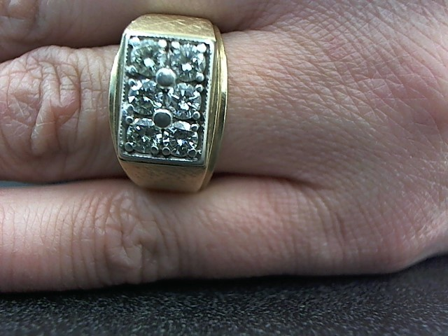 Gent's Diamond Fashion Ring 6 Diamonds .90 Carat T.W. 14K Yellow Gold 10.3g