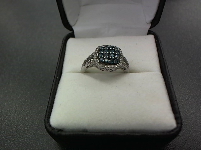 Blue Stone Lady's Stone & Diamond Ring 56 Diamonds .056 Carat T.W.
