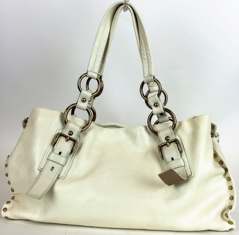 PRADA STUDDED WHITE LEATHER SHOULDER BAG