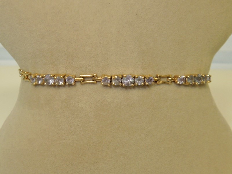 Synthetic Tanzanite Gold-Stone Bracelet 10K Yellow Gold 5.5g