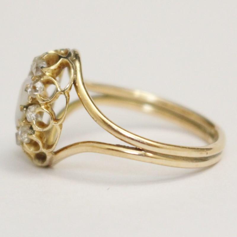 Vintage Inspried Art Nouveau Styled Opal & Diamond Ring Size 6.5