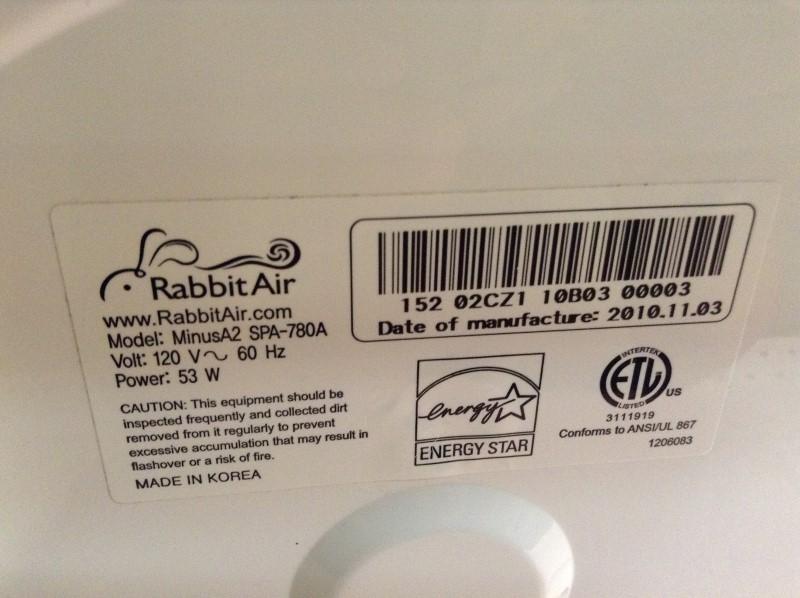 RABBITAIR Air Purifier & Humidifier MINUSA2 SPA-780A
