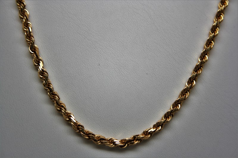 "24"" HEAVY ROPE STYLE CHAIN 14K YELLOW GOLD 30.7g"