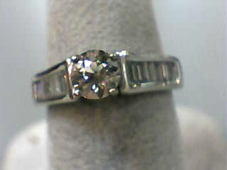 Lady's Diamond Engagement Ring 15 Diamonds 1.15 Carat T.W. 14K White Gold