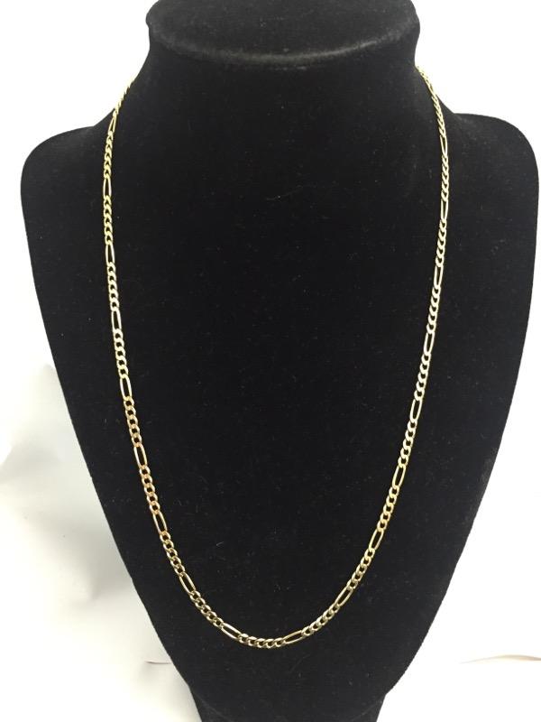 "20"" Gold Figaro Chain 14K Yellow Gold 5.6dwt"