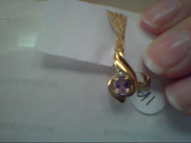 Purple Stone Diamond & Stone Necklace .005 CT. 10K Yellow Gold 1.9g