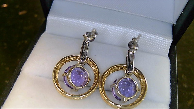 Synthetic Amethyst Gold-Diamond & Stone Earrings 10 Diamonds .10 Carat T.W.