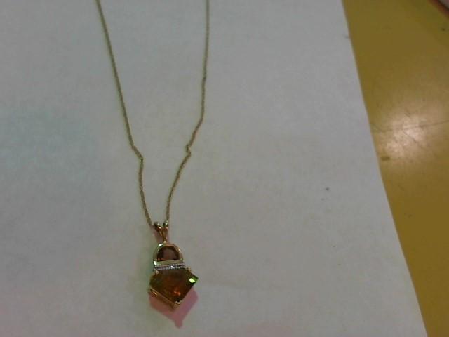 Yellow Stone Gold-Diamond & Stone Pendant 6 Diamonds .030 Carat T.W.