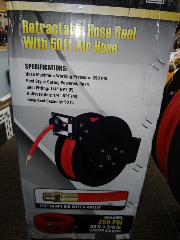 CENTRAL PNEUMATIC RETRACTABLE 50FT AIR HOSE REEL