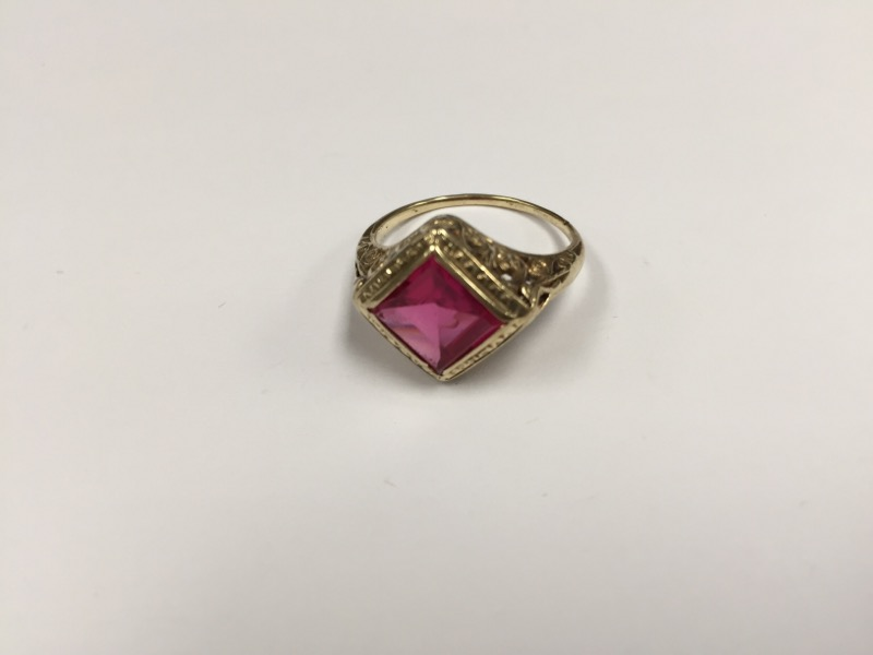 Synthetic Ruby Lady's Stone Ring 10K Yellow Gold 3.6g Size:8