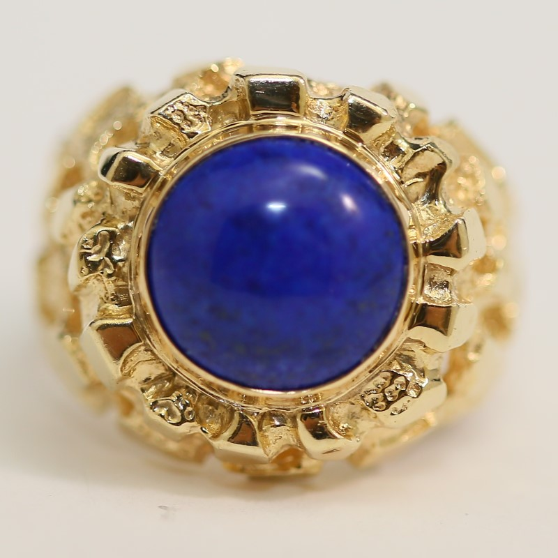 Unique Lapis Unisex 14K Yellow Gold Ring Size 10.5