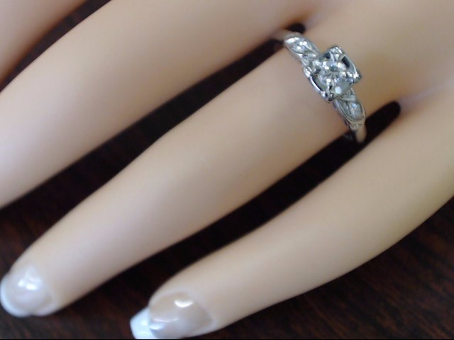 VINTAGE DIAMOND ENGAGE WED RING SOLID REAL 14K WHITE GOLD SIZE 7.5