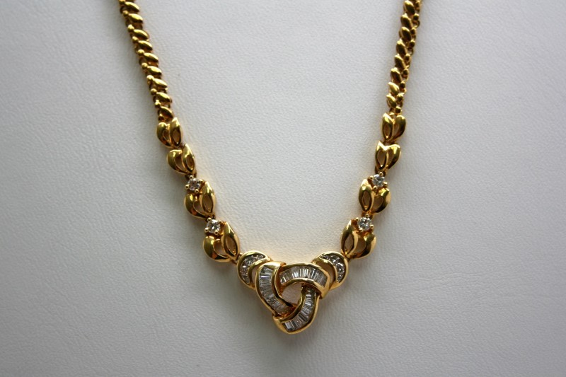FASHION STYLE DIAMOND NECKLACE 18K YELLOW GOLD