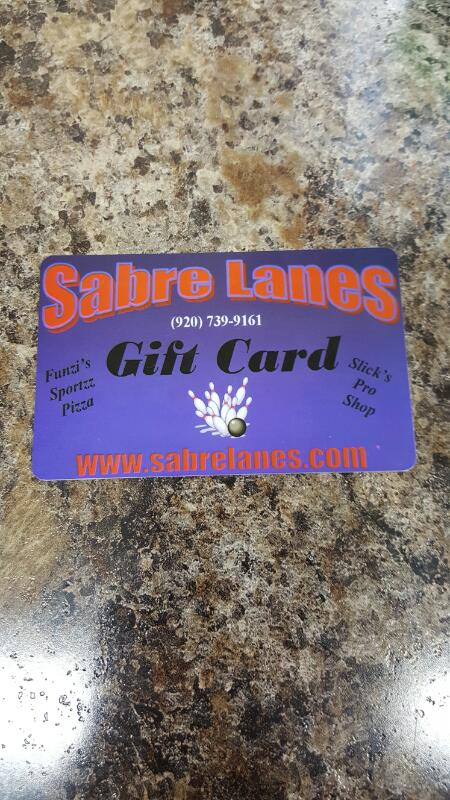 Sabre Lanes Gift Card $25 - Card in Hand, Ready to Ship - FREESHIP