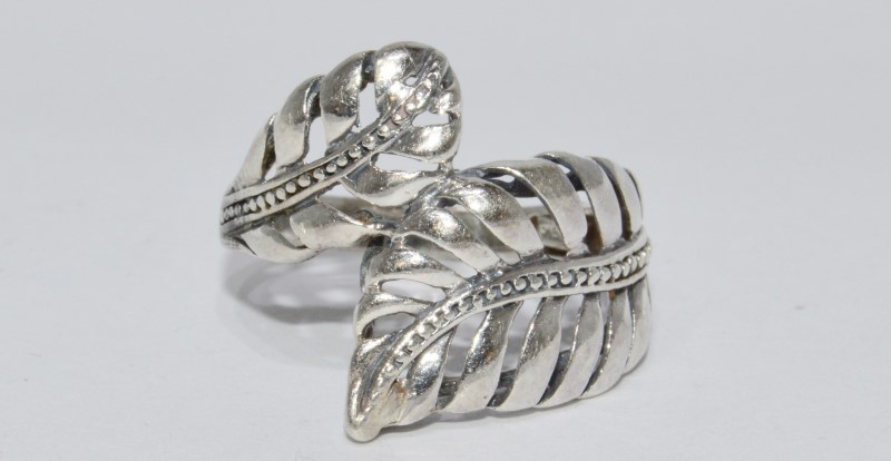 Sterling Silver Open Work Leaf Feather Wrap Style Milgrain Ring sz 10