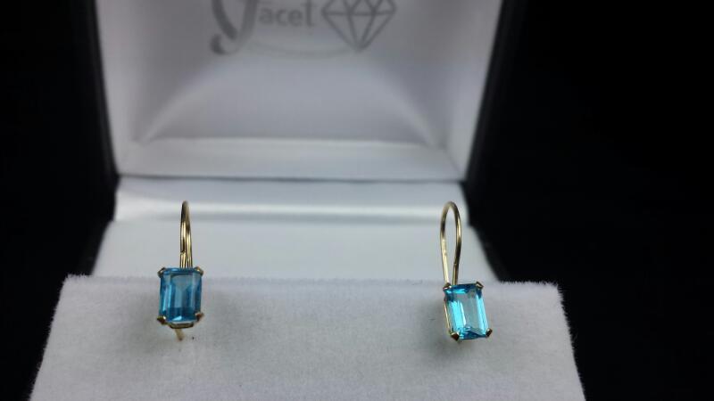 Estate Blue Topaz Gold-Stone Dangle Earrings 14K Yellow Gold 1.1g