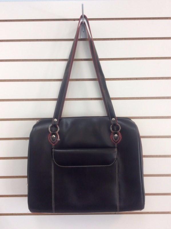 McKlein Black Glenview Authentic Red Trim Italian Leather Laptop Case w/ Insert