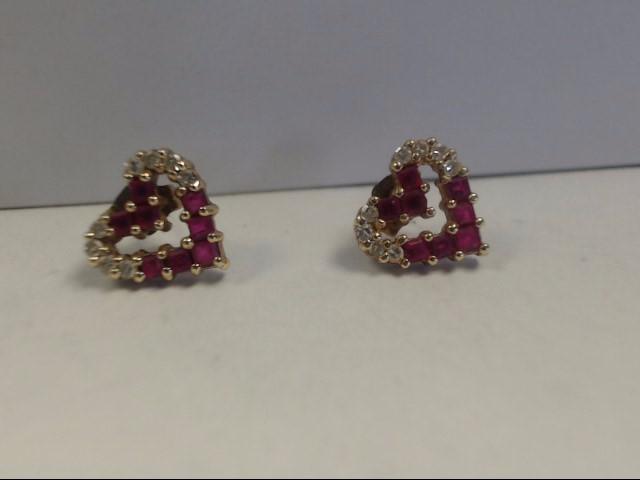 Ruby Gold-Diamond & Stone Earrings 16 Diamonds .32 Carat T.W. 14K Yellow Gold