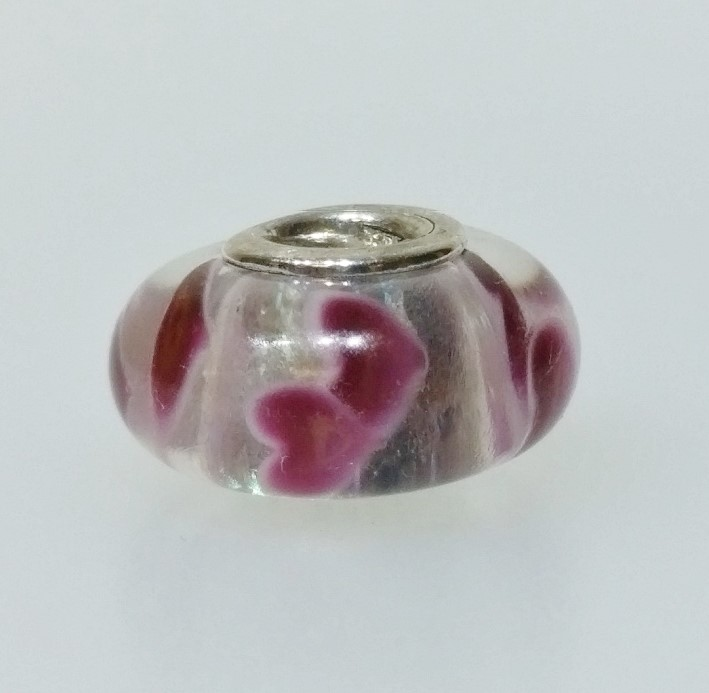 """Authentic Pandora 925 ALE Silver """"Wild Hearts"""" Pink Glass Murano Charm 791649"""