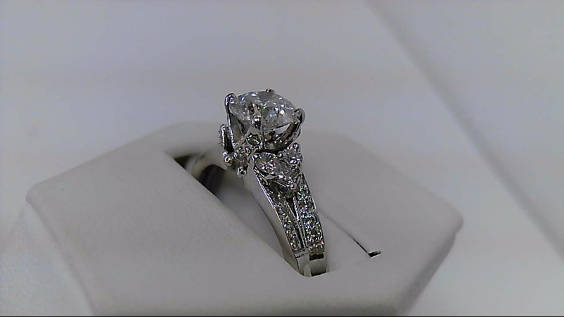 Lady's Diamond Engagement Ring 23 Diamonds 1.56 Carat T.W. 14K White Gold 4.2g