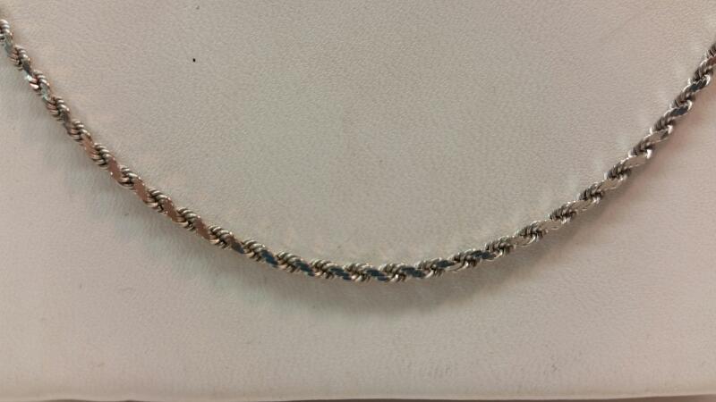 "14k White Gold 18"" Rope Chain"