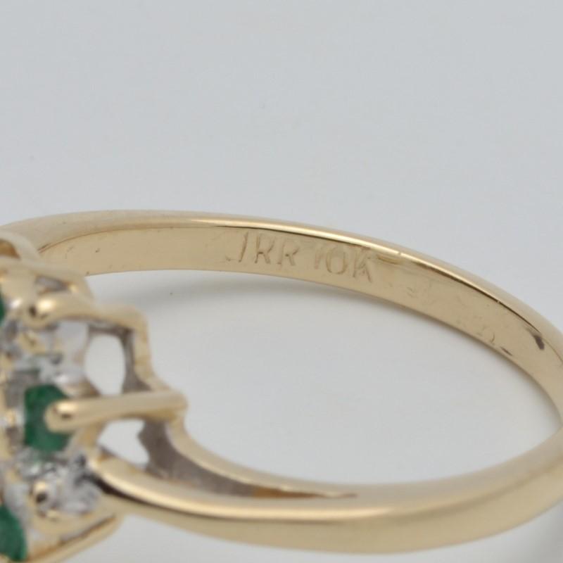 ESTATE DIAMOND EMERALD GREEN HEART RING SOLID 10K GOLD PROMISE SZ 6