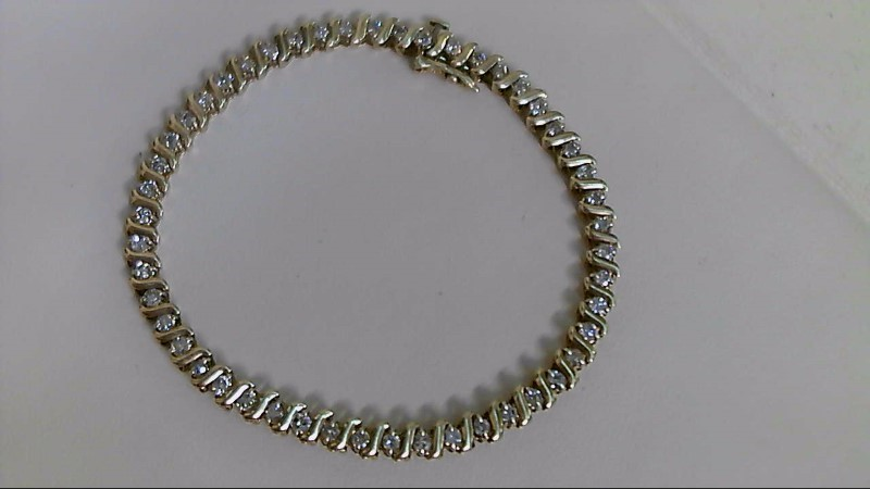 Gold-Diamond Bracelet 49 Diamonds 1.47 Carat T.W. 10K Yellow Gold 8.1g