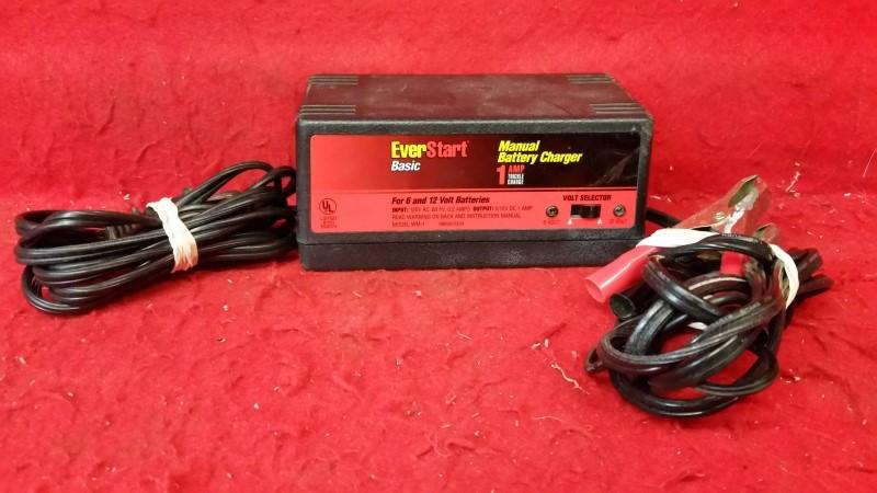 Everstart WM-1 Basic Manual Battery Charger 1 Amp Trickle Charger 6v / 12v