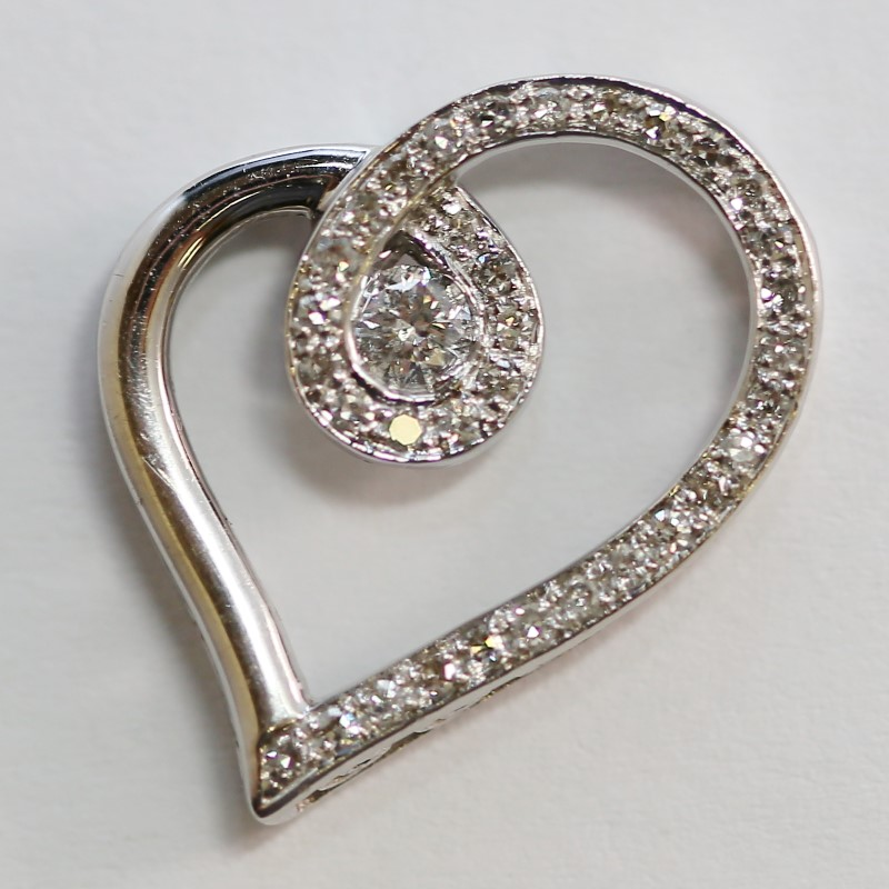14K White Gold Round Brilliant Cut Diamond Twisted Heart Pendant