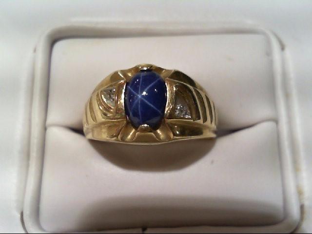 Synthetic Star Sapphire Gent's Stone & Diamond Ring 2 Diamonds .010 Carat T.W.