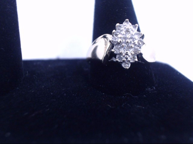 Lady's Diamond Cluster Ring 11 Diamonds .33 Carat T.W. 10K Yellow Gold 3g